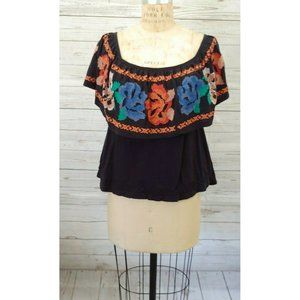 Free People Black Peasant Floral Embroidered Flowy